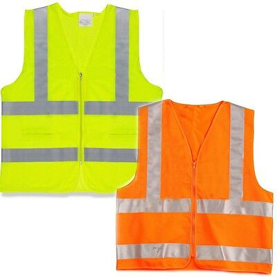 Neon Yellow Orange Green Safety Vest Reflective Strips ANSI/ISEA L XL XXL XXXL