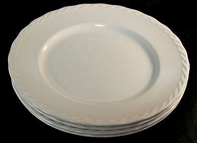 "FOUR (4) Grindley Ironstone SYLVIA  White 10"" Dinner Plates Rope Border"