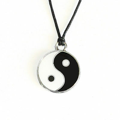 Yin Yang Pendant Black White Necklace Choker Charm With Black Cord Easter Gift