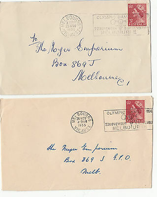 Stamps Australia 1955 pair of covers with Olympic Games slogan postmarks