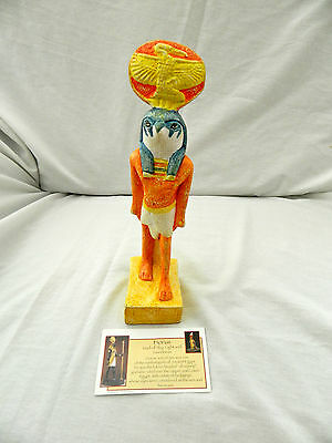 "Egyptian Resin God Horus Statue Orange Yellow Green 9.5"" NEW Excellent Quality"