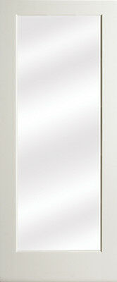 1 Lite Clear Glass Primed MDF Solid Interior French Doors 8'0 Height - Prehung