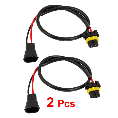 Pair H11 Male Wire Harness to Female for Xenon HID Kit Headlight Foglight