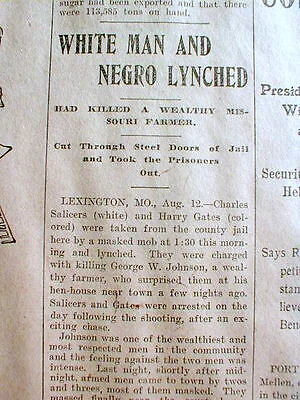 1902 newspaper BLACK MAN LYNCHED @ LEXINGTON Missouri by White mob HANGED n TREE