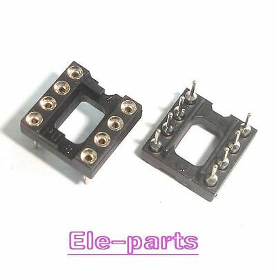 100 DIP8 Round 8 PIN 8Pin  DIL IC Socket (gold plated inner) NEW