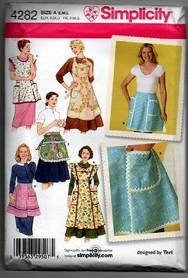 Simplicity Sewing Pattern 4282 Misses' Vintage Aprons Hostess Half Full Size NEW