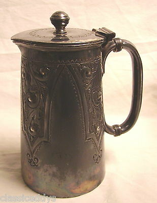 ENGLISH SILVER PLATE COVERED SMALL SERVING PITCHER FULLY MARKED REPOUSSE