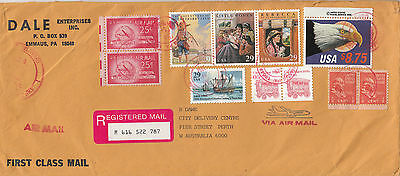 Stamps 1994 various USA on long cover sent registered airmail to Australia, nice