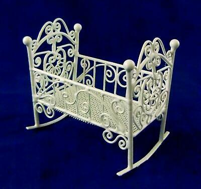 Melody Jane Dolls House Nursery White Wire Wrought Iron Rocking Cot Cradle