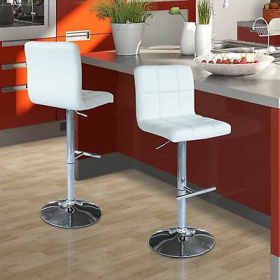 HOMCOM Adjustable Pub Bar Stool Kitchen Chair Faux Leather Set of 2 - WT