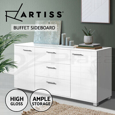 Buffet Sideboard High Gloss Storage Cabinet Dresser Table Cupboard White