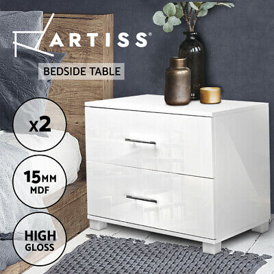 NEW Set Of 2 Bedside Table Cabinet High Gloss Chest Two Drawers Lamp Side WH