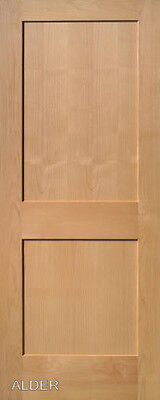2 Panel Flat Shaker Clear Alder Stain Grade Solid Core Interior Wood Door Doors