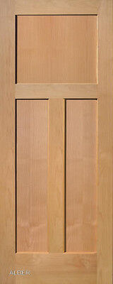 3 Panel Flat Shaker Clear Alder Stain Grade Solid Core Interior Wood Door Doors