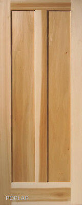 2 Panel Vertical Poplar Flat Mission Stain Grade Solid Core Wood Interior Doors