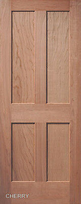 4 Panel Flat Mission / Shaker Stain Grade Cherry Solid Core Interior Wood Doors