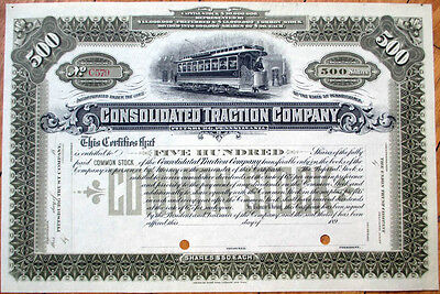 1890 Railroad/Trolley Stock Certificate: Consolidated Traction, Pittsburgh - 500