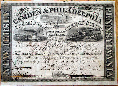 1854 Stock Certificate: 'Camden & Philadelphia Steam Boat Ferry Company' - NJ
