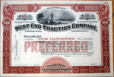 West End Traction Co.1890 Railroad/Trolley Stock Certificate - Pittsburgh, PA