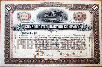 1890 Railroad/Trolley Stock Certificate: Consolidated Traction, Pittsburgh - 100