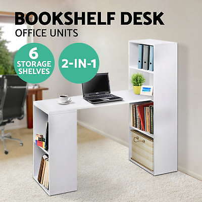 Office Computer Desk Table 6 Storage Shelf Bookcase Student Study White Stand