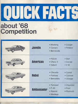 1968 AMC Javelin American Rebel vs Mustang Camaro Cougar Corvair Brochure wu2545