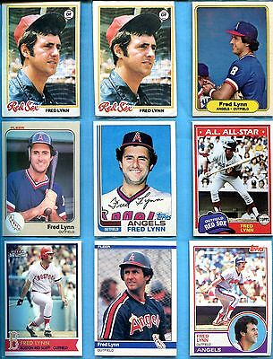 FRED LYNN ~ Lot of (27) Baseball Cards with 1978 Topps 1981 1982 Fleer Donruss