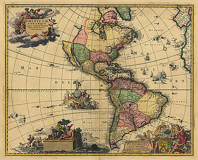 """1700's Map of North South AMERICA, Historic Print, quality, Amazing ART 17""""x13"""""""