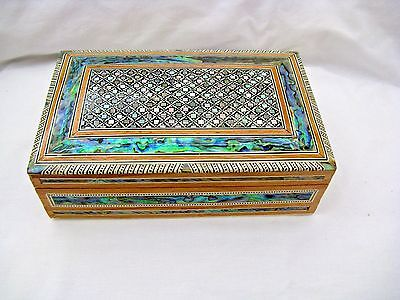 "Egyptian Inlaid Mother of Pearl Paua Wood Jewelry Box 8""X 5"" High Quality # 498"