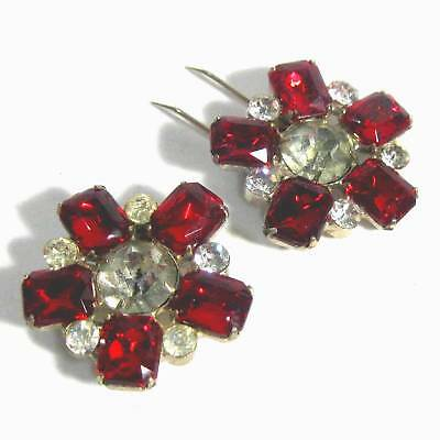 Pair antique fur clips red & clear rhinestones B24