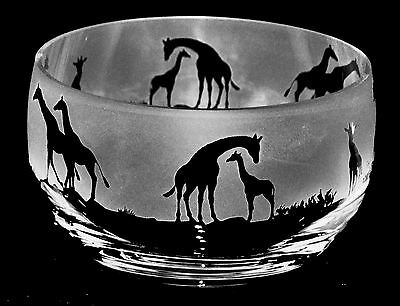 GIRAFFE GIFT ~ Boxed 12.5cm CRYSTAL GLASS SWEET BOWL with GIRAFFE Frieze