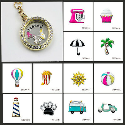 3PCS Floating Charm lot For Living Memory Glass Locket Necklace/Bracelet Jewelry