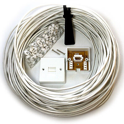 25M BT Phone/Broadband Wall Socket Extension Cable Kit - 4 Way Reel Wire Lead