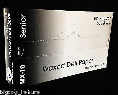 "Senior MX-10 Waxed Deli Food Paper Catering Restaurant (10"" x 10.75"") 500 Sheets"