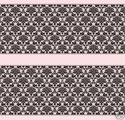 Damask Wallpaper Border Pink Black Wall Decals Baby Girl Nursery Stickers Decor