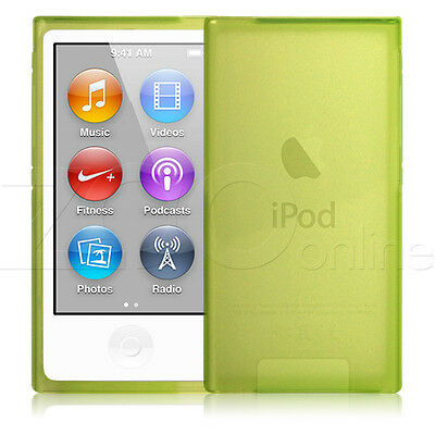 GREEN SLIM RUBBER GEL PROTECTIVE SKIN COVER CASE FOR APPLE iPOD NANO 7 7TH GEN