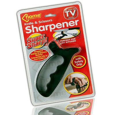 Knife Scissors Sharpener Sharp Blade 2-in-1 Tool Safety Guard Hand Protector