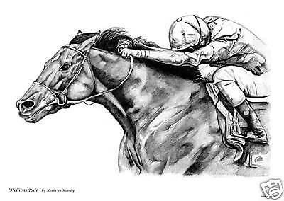 Signed Horse Racing Print by Kathryn Saunby