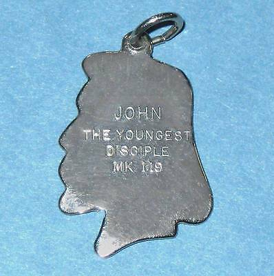 """Sterling silver charm Jesus' face with engraved """"John"""" ᴵ U1"""