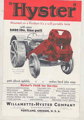 1925 ? Ford Fordson Tractor Hyster Power Take Off Hoist Brochure wu2667