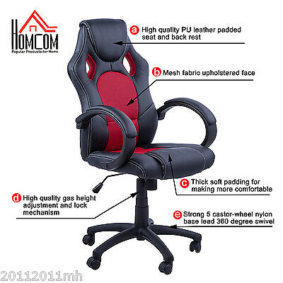 HOMCOM Swivel Racing Car Seat Office Chair Hydraulic Computer Chair Black Red