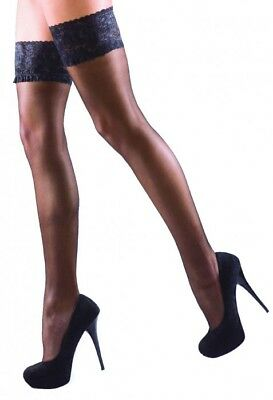 Large Glossy Luxury Shine Lace Top Hold Ups 15 Denier Black Nude New