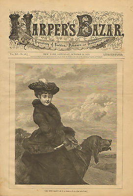 Victorian, Ladies Fashions, Lady And Her Big Dog, Vintage, 1879 Antique, Print,