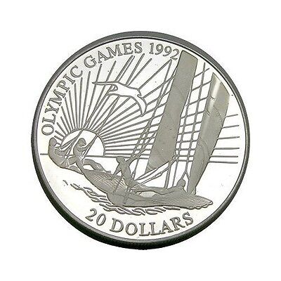 elf  Kiribati 20 Dollars 1992 Silver Proof Olympics  Sailing  Ship