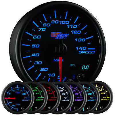 "GlowShift 3 3/4"" Black 7 Color Speedometer Gauge 0-140 MPH w Digital Readout"