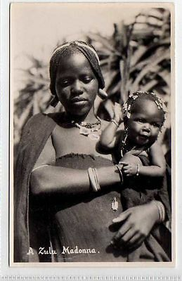 (Ly043-388)  Real Photo of A Zulu Madonna, Unused  G-VG