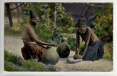 (Ly220-388) Zulu Women Grinding Corn, Unused c1910 F-G
