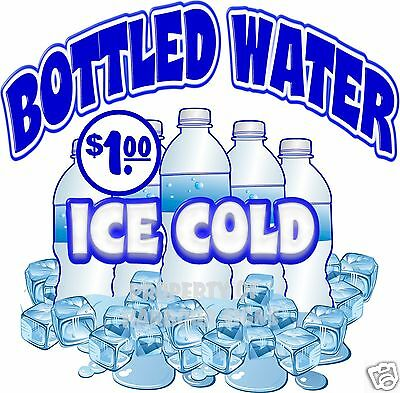 Ice Cold Bottled Water $1.00 Drinks  Concession Beverage Food Truck Decal 14""