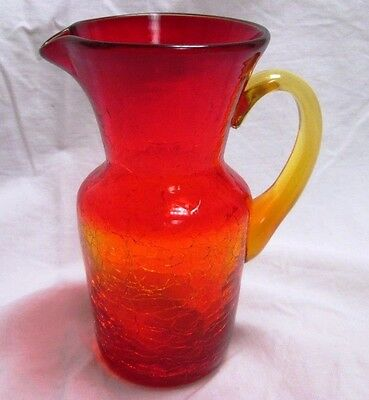 Vintage Red & Yellow Crackle Glass Creamer Small Pitcher Applied Yellow Handle