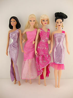 Custom, Handmade A Set of 3 Satin 1pc Jumpsuits in Bright Colors Made to Fit the Barbie Doll